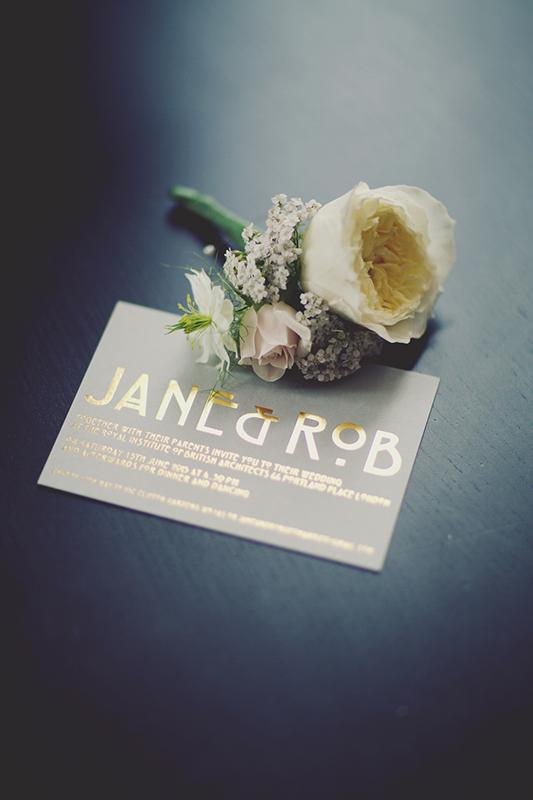London RIBA Wedding Photography Art Deco invite Jane Rob