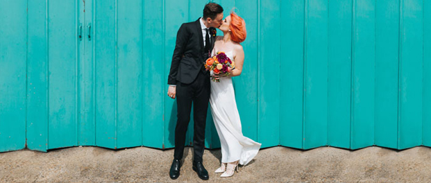 Modern bride and groom photo in east london