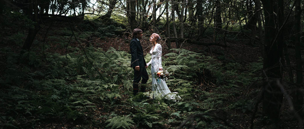 bride and groom in alternative woodland wedding