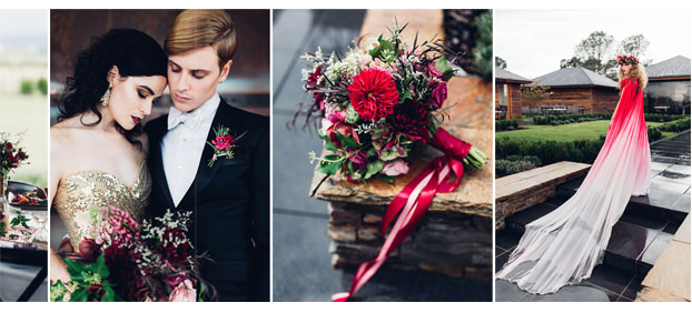Red ombre metallic gold wedding inspiration on rock my wedding
