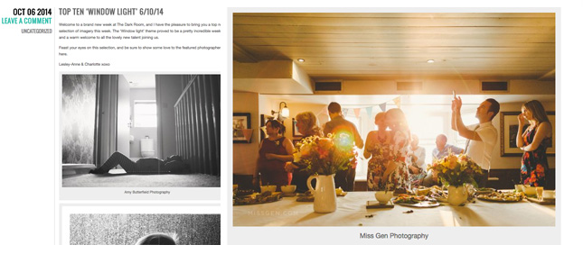 Miss Gen Photography featured on The Dark Room top 10 window light images.