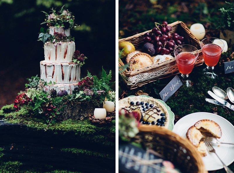 Woodland inspired wedding cake and picnic