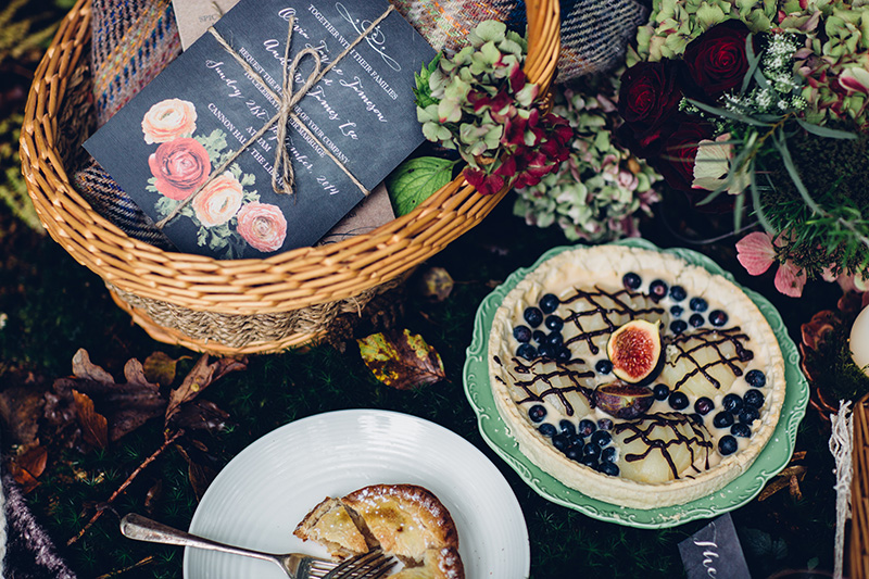 wedding picnic in the woods by french made