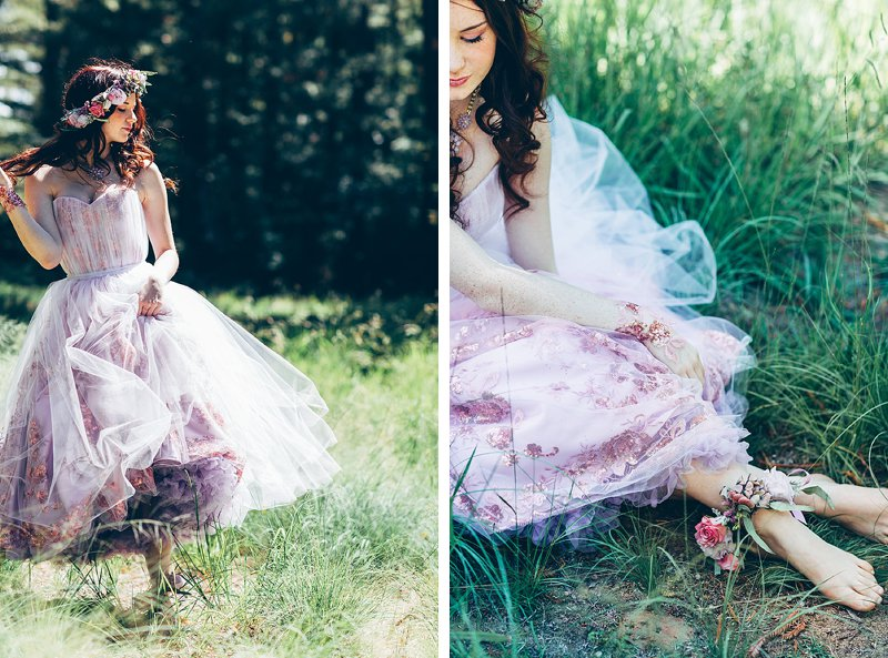 Pretty boho bride with flower crown and flower anklet