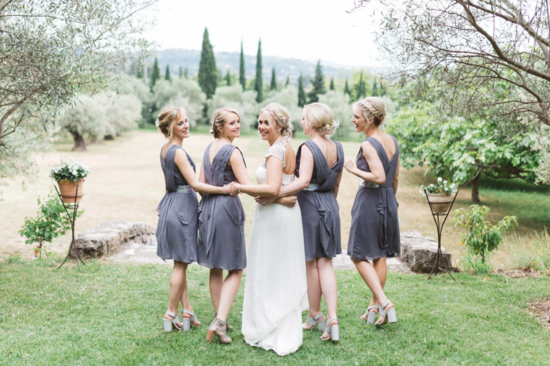 grey bridesmaids dresses provence france wedding