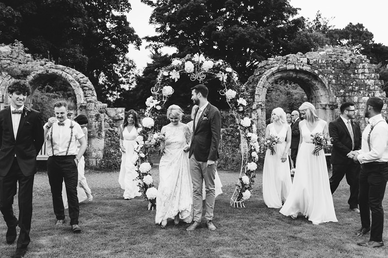 bridal party jervaulx abbey