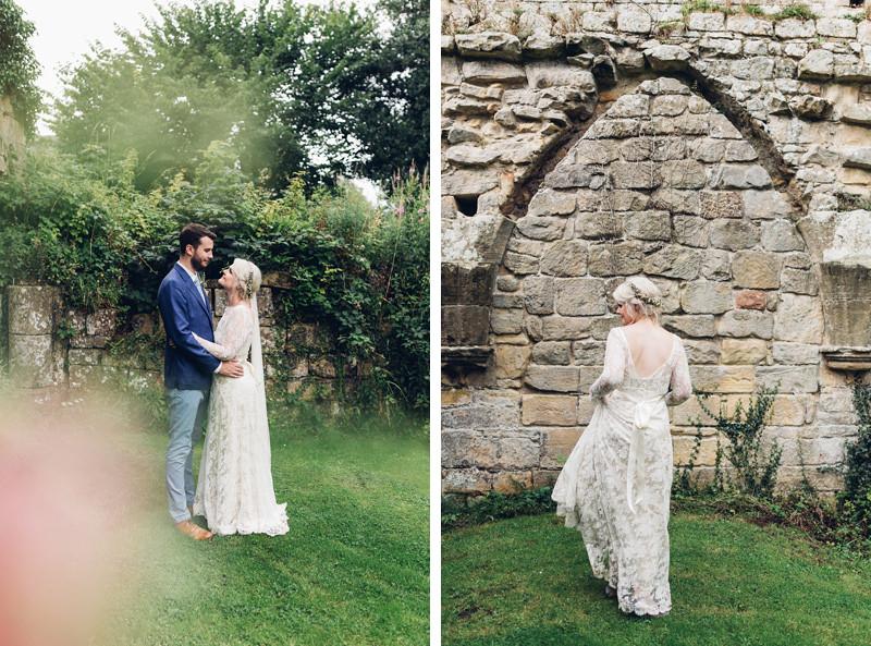 beautiful boho wedding jervaulx abbey