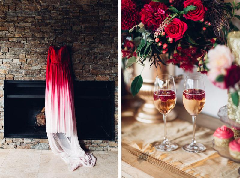 Elegant Red Ombre Wedding Dress & Gold Sparkly Wedding Inspiration ...