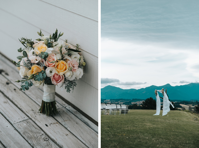 bridal bouquet and floral arch for outdoor wedding at Mahana Winery in Nelson, New Zealand by Destination wedding photographer, Miss Gen.