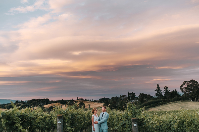 natural bride and groom portrait at mahana estates winery in Nelson, New Zealand by wedding photographer Miss Gen