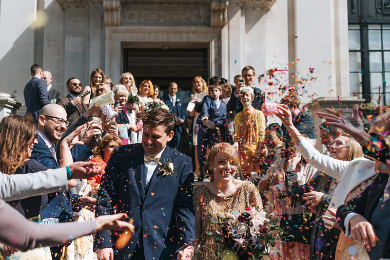Rainbow confetti at islington town hall by london wedding photographer Miss Gen