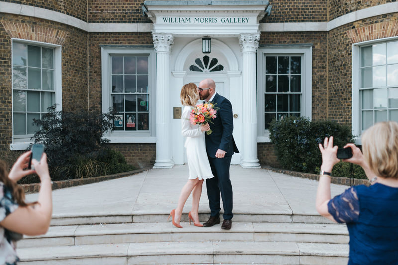 bride and groom kissing at intimate wedding at the William Morris Gallery in walthamstow by london wedding photographer Miss Gen