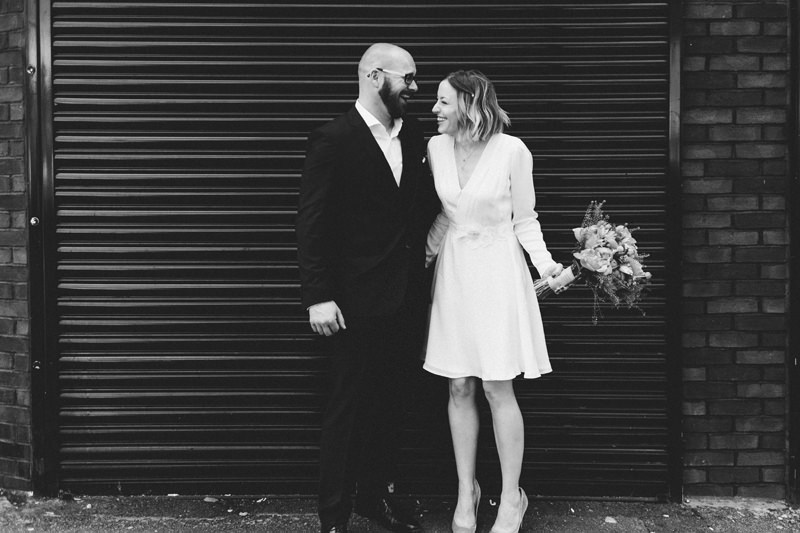 modern bride and groom portrait in east london by wedding photographer Miss Gen