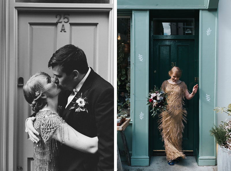 bride and groom portrait with bride in gold sequinned Eliza Jane Howell dress by relaxed natural destination wedding photographer Miss Gen