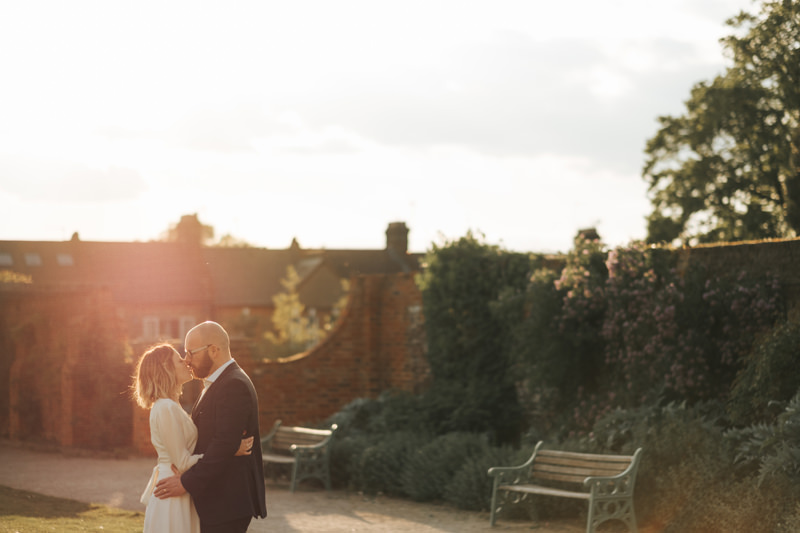 wedding portrait at sunset at the william morris gallery by modern walthamstow wedding photographer Miss Gen