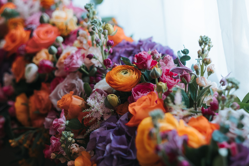 pink, orange, purple spring wedding flowers
