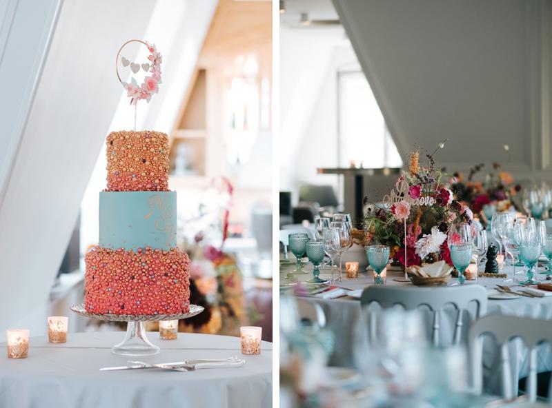 aqua pink gold wedding