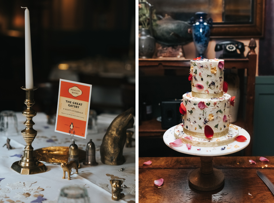 table setting details and wedding cake covered in petals for an intimate london wedding at the Zetter Townhouse in Clerkenwell, photographed by Miss Gen
