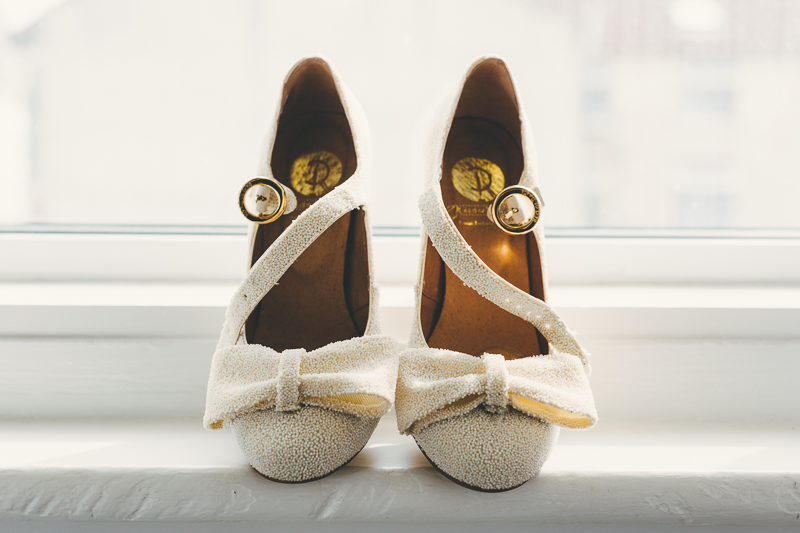 Cream beaded wedding shoes from Red or Dead