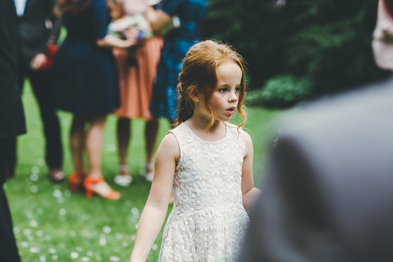 natural photos of the flower girl in the gardens at Portsmouth Registry Office
