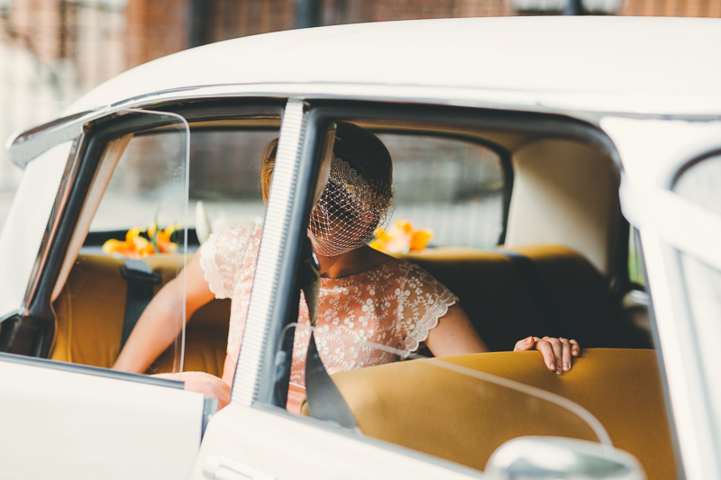 Bride getting into Citroen Wedding Car in Portsmouth