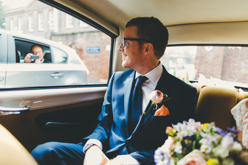 Groom in Citroen wedding car in Portsmouth