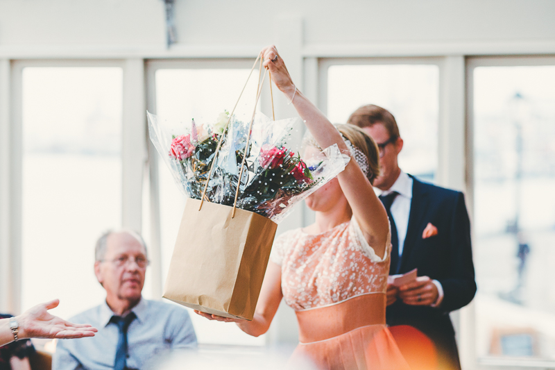 Bride giving gifts. Natural, Beautiful, Creative Reportage Portsmouth wedding photography by Miss Gen Photography London and Destination wedding photographer.