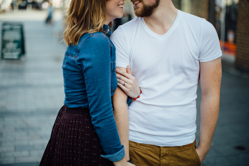 Couple standing in the street. Couple portrait photography session in Dalston, London by Miss Gen Photography - London and destination wedding photographer. Welcome Home Workshop with Emma Case.