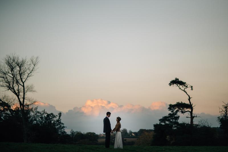 beautiful wedding photo, sunset in suffolk