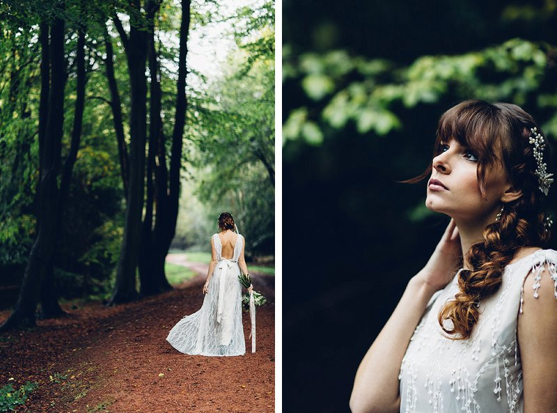 natural bride portraits in the forest in England