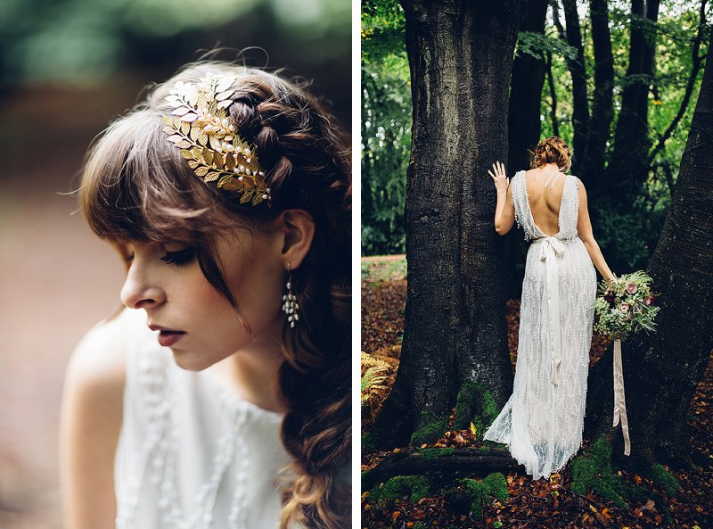 Wedding Hair plaits with golden leaf hairpiece