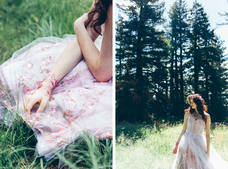 pretty bride with flower crown in woodland
