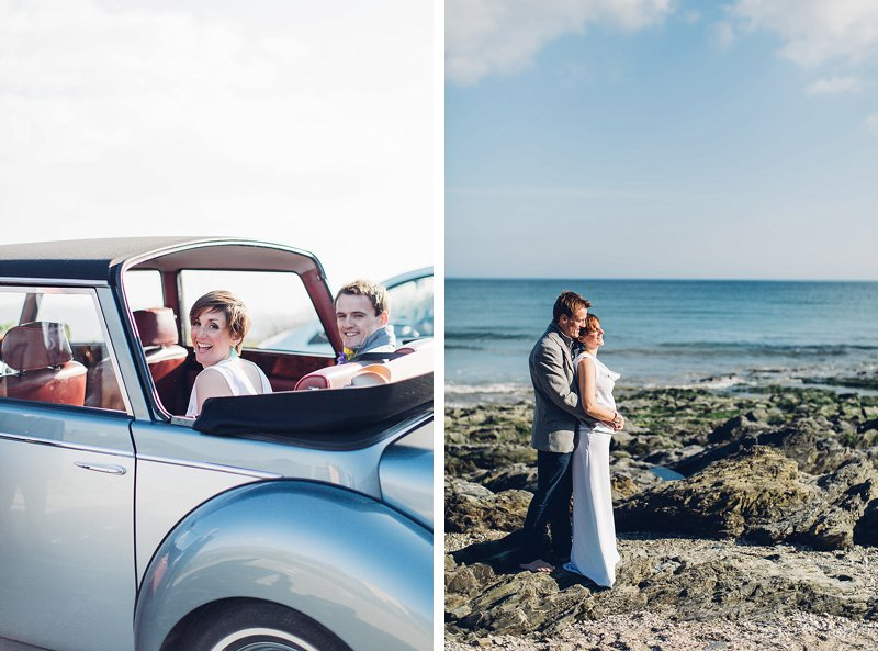 bride and groom portrait on the beach in cornwall