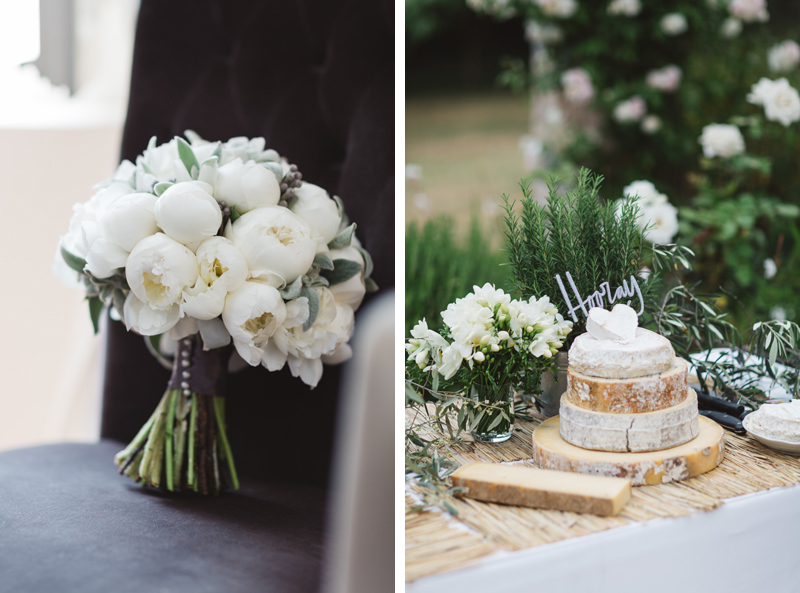 White peony bouquet and cheese wedding cake