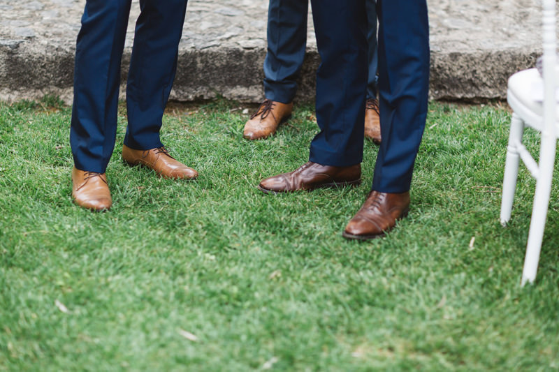 wedding party blue suits and brown brogues