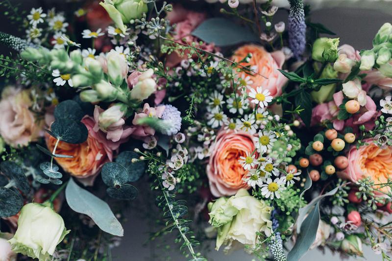 peony daisy eucalyptus bouquet