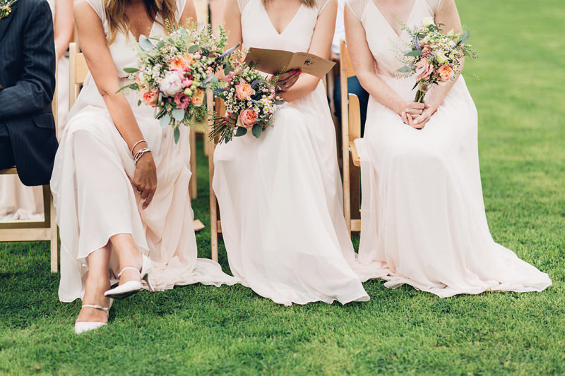 pretty long pink bridesmaids dresses