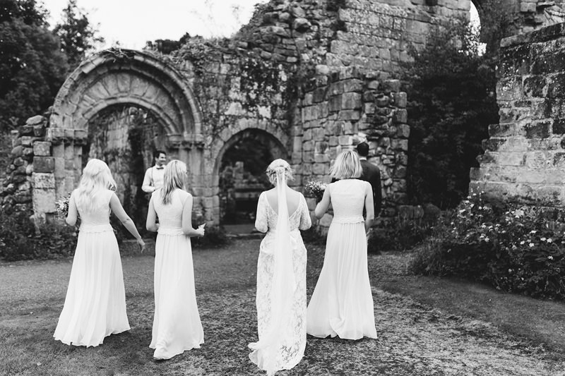 wedding in a ruined abbey england