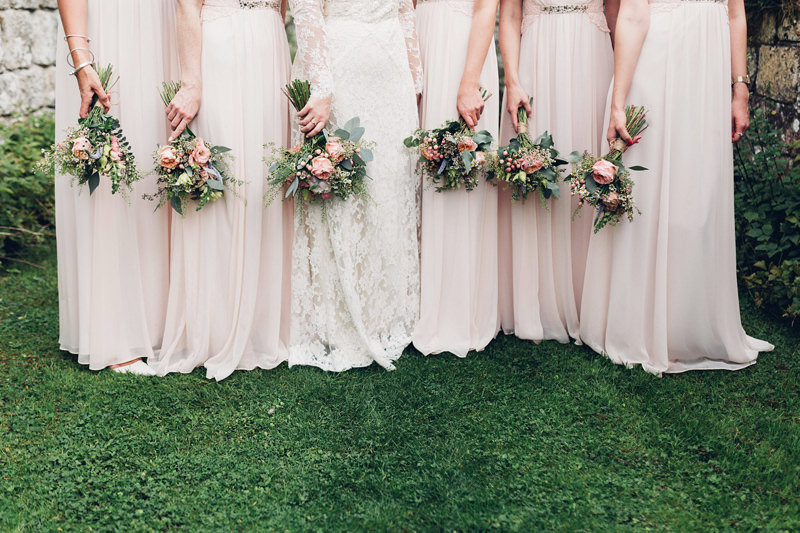 pale pink bridesmaids and roses