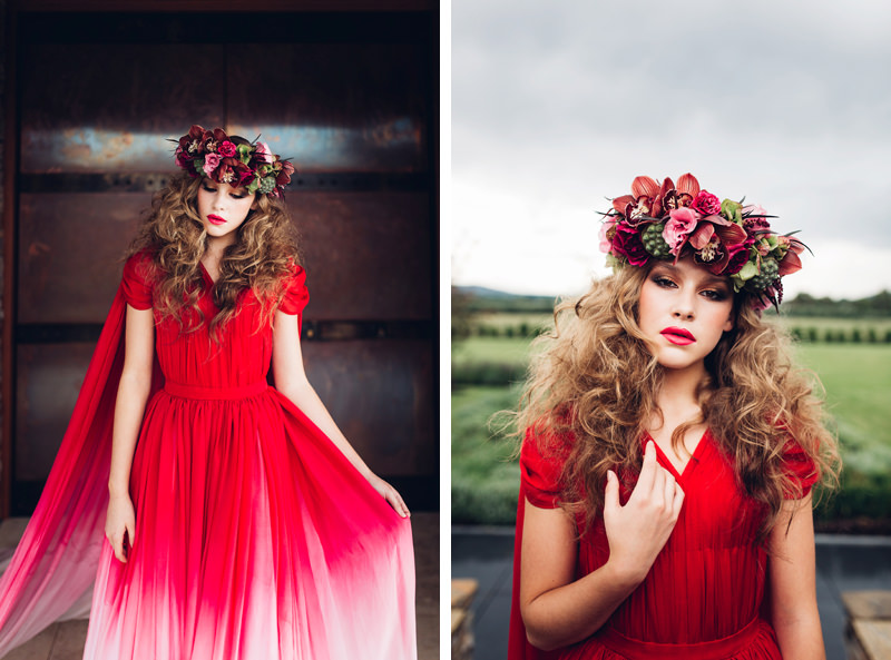 red and white ombre wedding dress and abundant flower crown with lotus pods and orchids by peony n pearl florist
