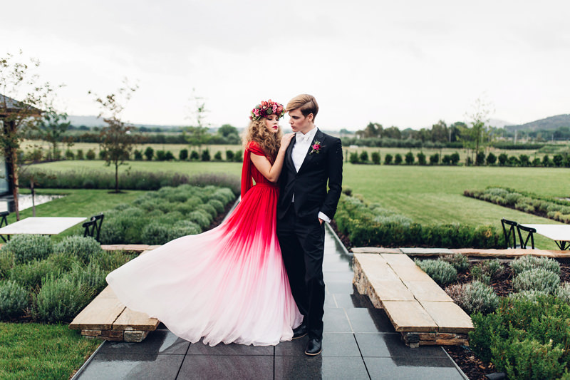 Red White Ombre Wedding Dress By Rockstars And Royalty Photographed Miss Gen