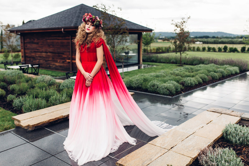red ombre wedding dress