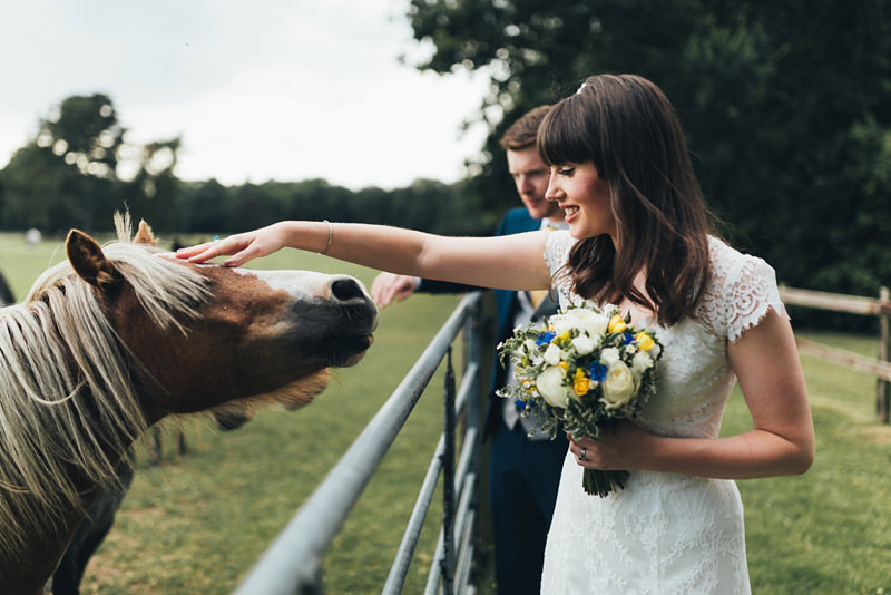 bride with horse at lanwades hall