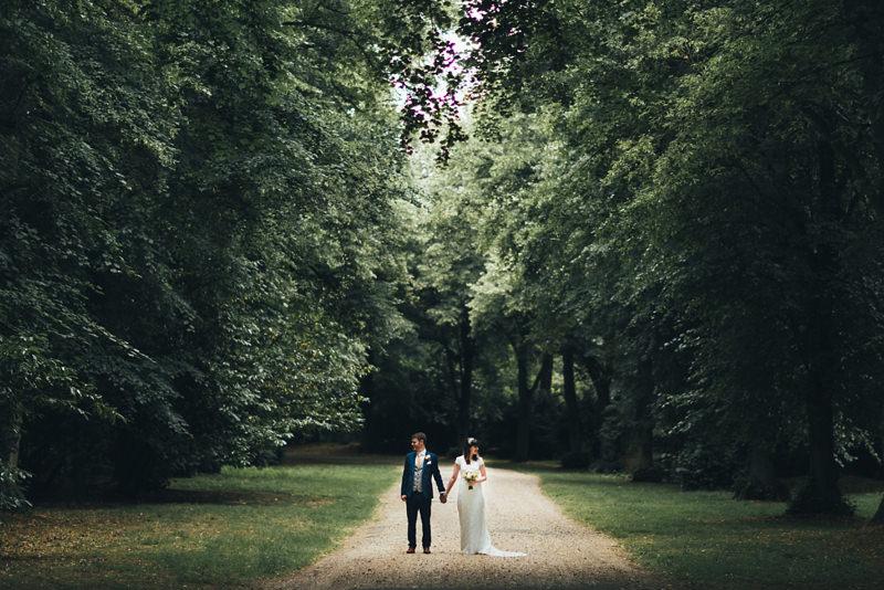 creative bride and groom portrait in woodland forest by miss gen, destination wedding photographer