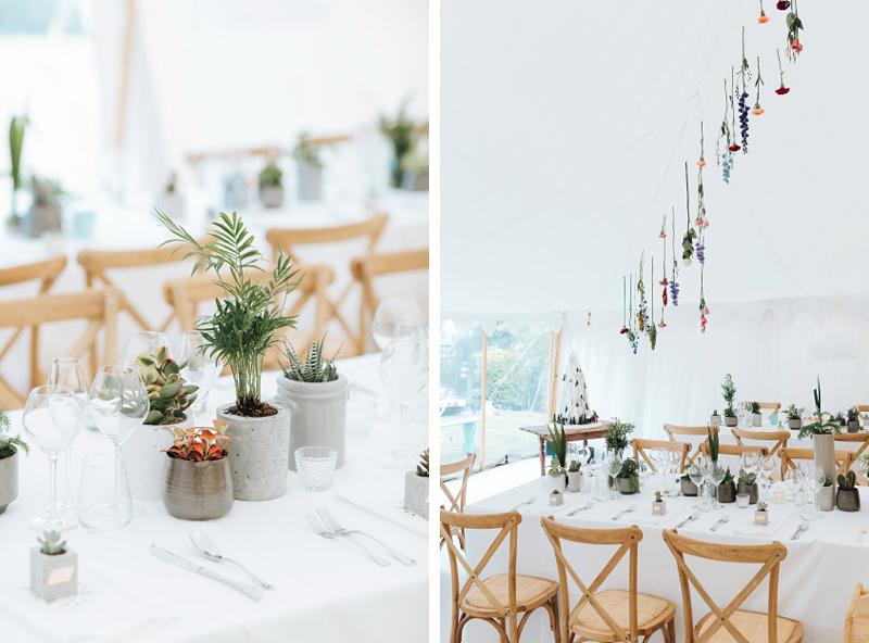 beautiful hanging floral & succulent concrete pot wedding inspiration