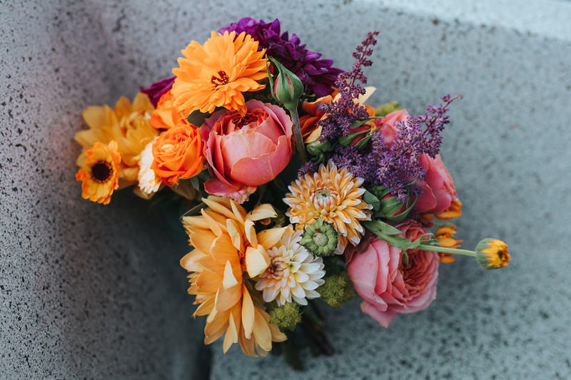 colourful pink, orange and purple summer bridal bouquet