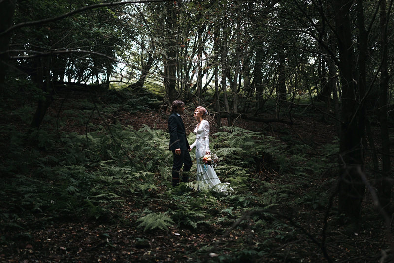 bride in inbal dror with groom in woodland wedding by london photographer missgen