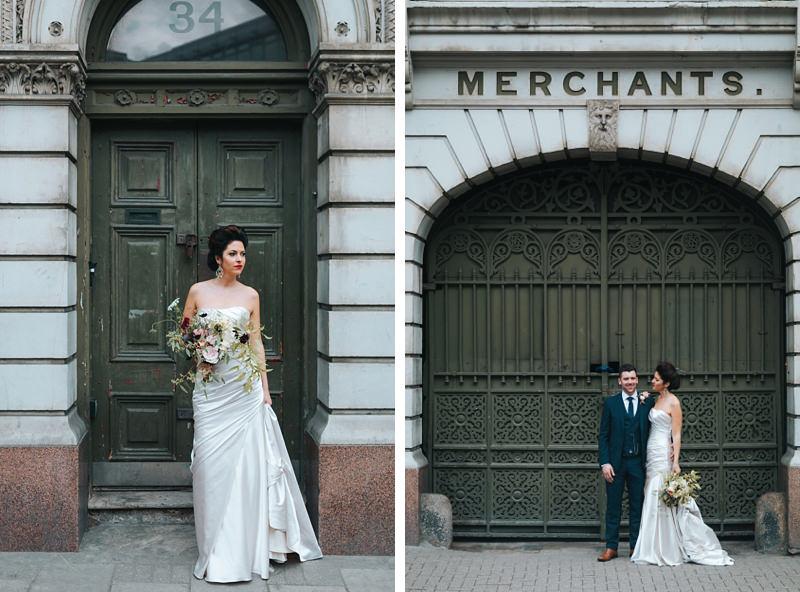 beautiful bride in front of antique doorways in East London by destination wedding photographer missgen