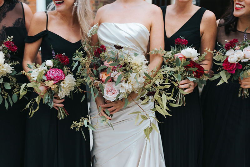 bridesmaids in black dresses for a stylish east london wedding