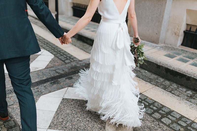 beautiful charlie brear fringed wedding dress by east london wedding photographer miss gen